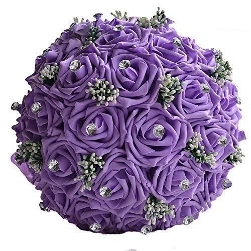 Yhjkvl - Fiori artificiali per matrimonio da damigella d'onore, bouquet da sposa, strass, nastri e quattro colori sono disponibili per diversi significati. Bouquet da sposa (colore: viola)