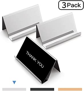 Sooez Business Card Holders Stand for Desk, 3 Pack Office Stainless Steel Business Card Table Top Display Stand Metal Name Card Holder Desktop Collection Rack Organizer, Silver