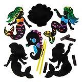 "Baker Ross Kratzbild-Bastelsets ""Meerjungfrau"" mit Magneten (10 Stück) – buntes Regenbogen-Kratzpapier – Bastelidee für Kinder"