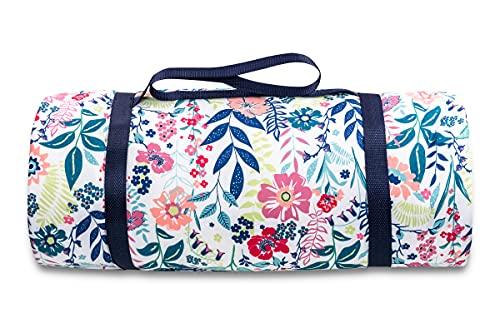 jilda-tex Picknickdecke 150x200 cm Campingdecke Stranddecke Bedruckt gepolstert wasserfest tragbar (Blossom)