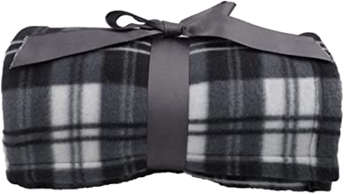 Lullaby Plaid Ultra-Soft Polar Fleece Home Outdoors Camping Blanket One Size Grey