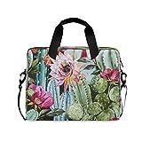 HMZXZ Funda para ordenador portátil con diseño de cactus tropicales, flores y cactus, para ordenador de 13, 14, 15,6 pulgadas, maletín de transporte para trabajo escolar