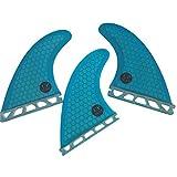 UPSURF Tabla de surf FUTURE Aletas Base Fibra de Vidrio Tabla de Surf Aletas Tri Fin Thruster Set Tener Panal (Blue. G5)