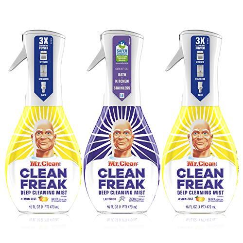 Mr. Clean, Clean Freak Deep Cleaning Mist Multi-Surface Spray, Lavender and Lemon Zest Scent Starter Kit Bundle Pack, 3 Count, 16 fl oz