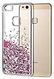 wlooo Funda Huawei P10 Lite, Glitter Funda Lujo Líquido Moda 3D Bling Cubierta Flowing Liquid Flotante Sparkle Glitter Cute Cover Protección TPU Bumper Case for Huawei P10 Lite (Oro Rosa)