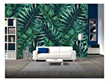 wall26 - Watercolor Tropical Palm Leaves Seamless Pattern. Vector Illustration. - Removable Wall...