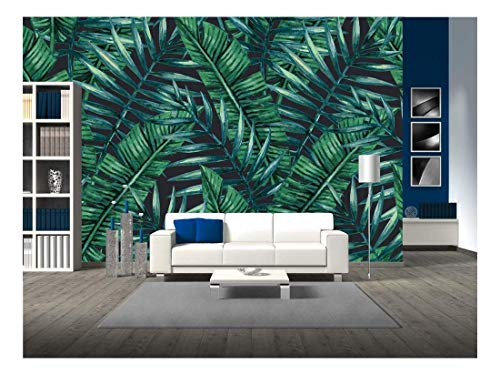 wall26 - Watercolor Tropical Palm Leaves Seamless Pattern. Vector Illustration. - Removable Wall Mural | Self-Adhesive Large Wallpaper - 66x96 inches