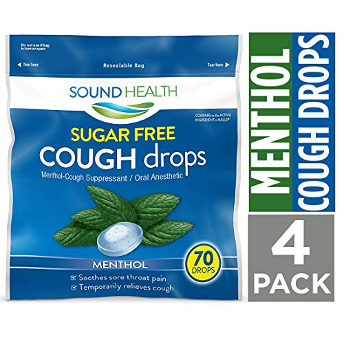 SoundHealth Sugar Free Menthol Cough Drops, Throat Lozenge, Cough Suppressant, 70 Count Bag, 4 Pack