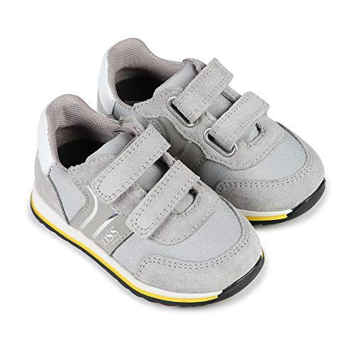 BOSS Sneaker mit Klettverschluss und Streifen, Layette, Grau - Canyon Grey - Größe: 25 EU