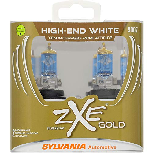 SYLVANIA - 9007 (HB5) SilverStar zXe GOLD High Performance Halogen Headlight Bulb - Bright White Light Output, Best HID Alternative, Xenon Charged Technology (Contains 2 Bulbs)