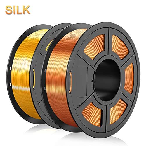 Shiny Silk RedCopper & LightGold PLA Filament 1.75mm,3D Warhorse PLA 3D Printer Filament,2KG/Spool,Metal Shiny PLA Printing Materials,Dimensional Accuracy +/- 0.02 mm