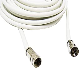 hosecurity 6ft White RG6 Coaxial Cable Plus Two Connectors for Televisions, Satellite Receivers (6ft, White)