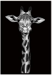 Impression Sur Toile,Peinture Murale Sur Toile De Girafe Animalier Nordique Noir Et Blanc Avec Des Peintures Modulaires Po...