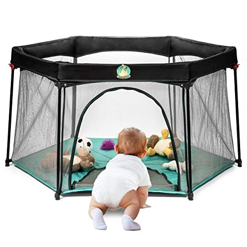 Portable Playard Play Pen for Infants and Babies - Lightweight Mesh Baby Playpen...