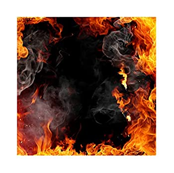 Baocicco 5x5ft Roaring Fire Backdrop Wallpaper Decor Passion Flame Frame Smoke Black Background Photography Background Vlogger Bonfire Party Birthday Party Baby Children Adults Portrait Prop