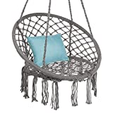 Best Choice Products Handwoven Cotton Macramé Hammock Hanging Chair Swing for Indoor & Outdoor Use w/Backrest, Fringe Tassels, 265 Pound Capacity - Gray