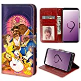for Samsung Galaxy S9 Plus Wallet Case Beauty and The Beast Flip Leather Case with Kickstand PU Leather Stand Folio Cover Case for Samsung Galaxy S9 Plus