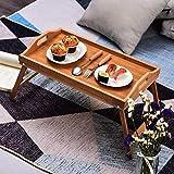 Tienda Eurasia® Vassoio per letto in bambù, tavolino colazione con gambe pieghevoli, naturale, 59 x 30 x 24 cm