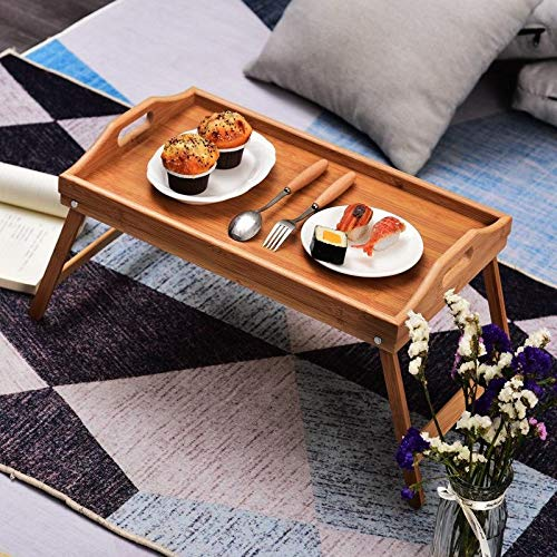Tienda Eurasia® Bandeja para Cama de bambú, mesita desayuno con Patas Plegables, Natural, 50x30x24 cm