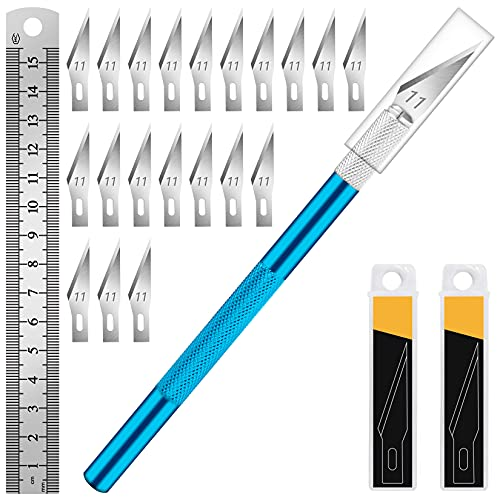 DIYSELF 1PCS Hobby Knife with Safety Cap and Ruler and 20PCS Craft Knife Blades for Crafting and Cutting Carving Scrapbooking Art Work Cutting (Blue)