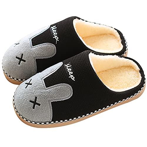 MoneRffi Herren Damen Hausschuhe Winter Plüsch Pantoffeln Wärme Weiche Bequeme Memory Foam Slippers Home Tiere Hase Pantoffeln rutschfeste Shoes Flauschig Slides(Schwarz,38-39)