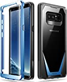 Galaxy Note 8 Case, Poetic Guardian [Scratch Resistant Back] [360 Degree Protection] Full-Body Rugged Clear Hybrid Bumper Case with Built-in-Screen Protector for Samsung Galaxy Note 8 Black/Blue