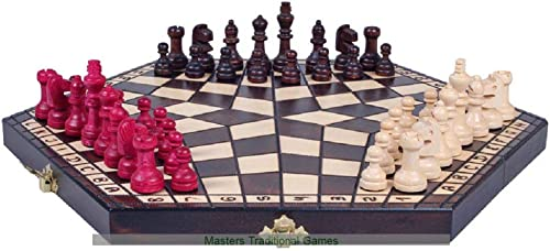 SunRise Medium 3 Player Chess Set - 40cm Board Without Edge Numbers (marron, blanc and rouge Pieces)