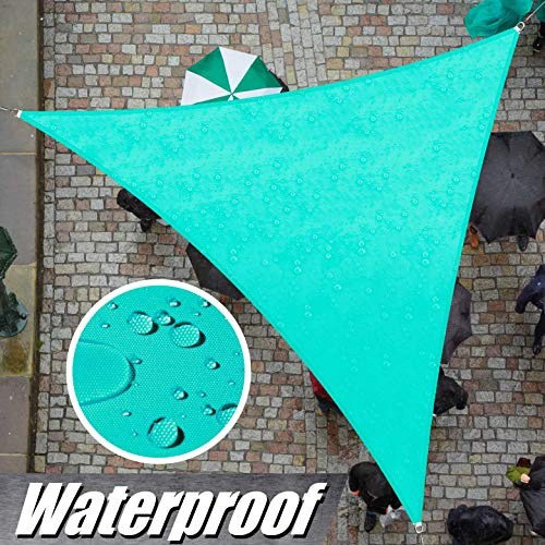 ColourTree 16' x 16' x 16' Turquoise Triangle Waterproof Sun Shade Sail Canopy Awning Shelter Fabric Screen, 95% UV Blockage UV & Water Resistant, Outdoor Patio Garden Carport (We Make Custom Size)