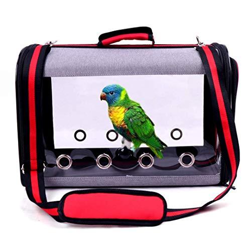 iPawde PET-Vogelträger mit Holzständer und Edelstahlschale, inklusive Schiebetablett, Vogelrucksack und atmungsaktivem Vogelreisekäfig