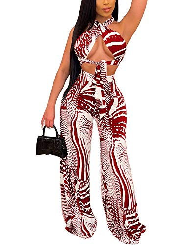 Ekaliy Sexy Halter Neck Two Piece Outfits for Women Clubwear Summer Cross Bandage Two Piece Outfits Wide Leg Jumpsuits Pants Rompers for Women Red L