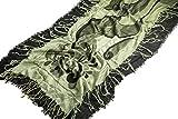 Pashmina - Manta reversible con flecos para mujer, color verde y negro