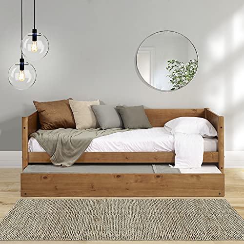 Mid-Century Modern Daybed and Trundle Set/Solid Wood/Panel Headboard /No Box Spring Needed/Mattress Foundation has 14 Wood Slats and 1 Center Support/Twin Trundle/Easy Assembly, Castanho Finish, Twin