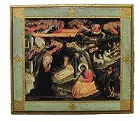 Lorenzoによる聖家族キリスト降誕シーン フィレンツェの飾り板 緑の縁取り-イタリア製、14x12インチ