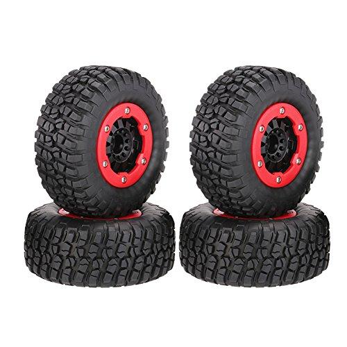 LAFEINA 110mm Tire and Wheel Rim Set for 1/10 Short Course Truck Traxxas Slash Redcat Blackout