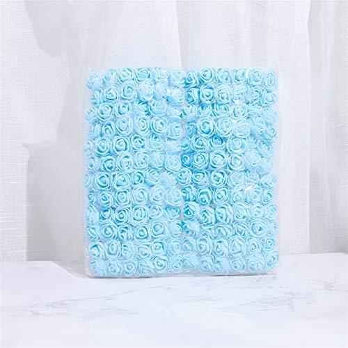SJHQ Eternal flower Mini Foam Rose Artificial Flower Bride Bouquet For Wedding Home Decor PE Colorful Fake Flowers DIY Party Scrapbooking Supplies Artificial Flowers (Color : Blue)