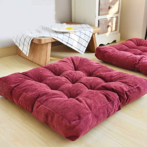 JYAcloth Square Corduroy Chair Cushion,Solid Square Tatami Floor Pillow Thicken Tufted Chair Pad Seat Cushion For Yoga Meditation Patio Office Dining Chair