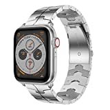 RABUZI Compatible for Apple Watch Band 44mm/42mm,Enamel Process Stainless Steel Metal Watch Replacement Bands Compatible for Apple Watch Series 6/5/4/3/2/1 Smartwatch,Silver