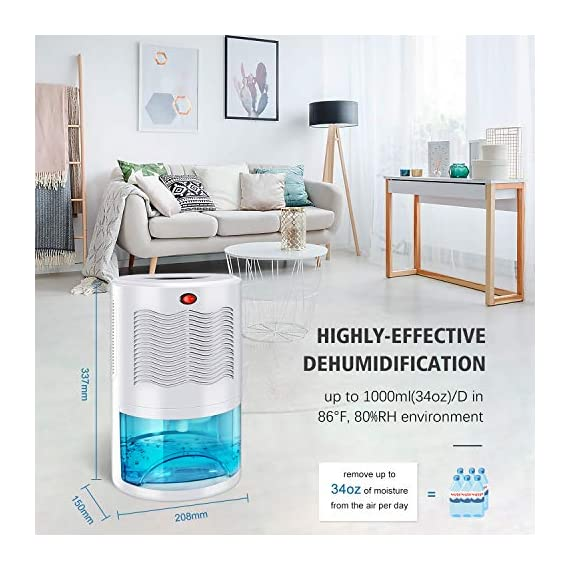 Gocheer upgraded dehumidifier for home,up to 480 sq. Ft dehumidifiers for high humidity in basements bedroom closet… 4 high effectively dehumidifier:comes with a 2000ml(68oz) water tank which can quickly and effectively remove up to 1000ml(34oz,temperature: 86 °f humidity: 80% rh) of moisture from the air per day. Keep your home comfortable and healthier all the time. Application area:up to 480 sq. Ft,this household portable small dehumidifier is widely used in all kinds of scenes such as your home,bathroom,living room,bedroom,closet,kitchen,which can efficiently meet your daily needs for removing moisture. Upgraded energy saving:compared with bulky compressor dehumidifiers,our compact home dehumidifier equips with semiconductor condensation technology which can ensure maximum water extraction with minimum power use.
