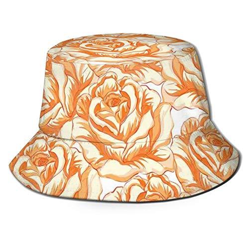 Cubo de viaje de verano de algodón para playa, sombrero de sol romántico, ramo de rosas en tonos cálidos, día de San Valentín, amor, flores