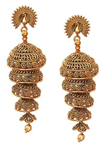 Pahal tradicional capas 5 capas oxidadas de oro largo Jhumka pendientes de pavo real del sur de la India Bollywood joyería de boda para mujeres