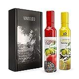 iO Aceite de Oliva Virgen Extra Enriquecido. Aceite de Oliva Español Gourmet. Estuche regalo con 2 unidades. Pack de 2 x 250 ml (Licopeno y Ajo Negro + Limoneno y Pimienta Negra)