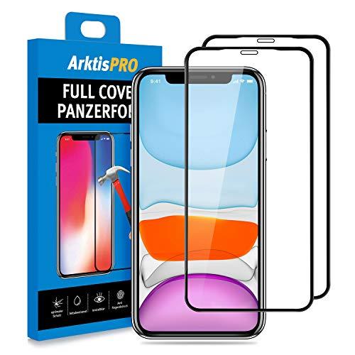 Arktis Panzerglas Panzerfolie [Full Cover Glas] Schutzfolie kompatibel mit iPhone 11 vorne Displayschutzfolie 9H Härte [Hüllenfreundlich] - 2er Set
