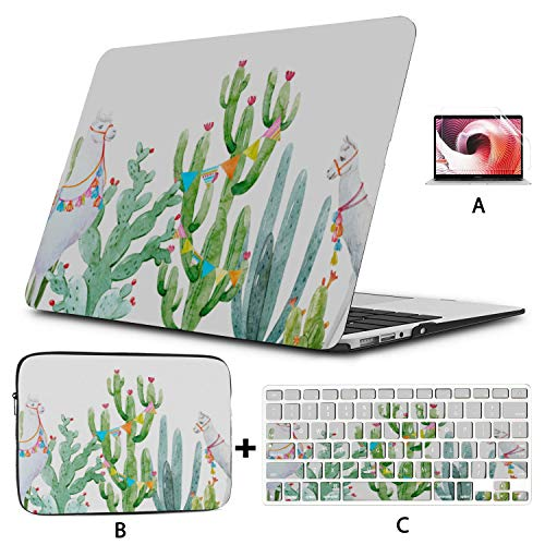 Laptop Cover Tropical Baner Cactus Cute Llama MacBook 2017 Case Hard Shell Mac Air 11'/13' Pro 13'/15'/16' with Notebook Sleeve Bag for MacBook 2008-2020 Version