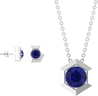 Blue Sapphire Jewelry Set 3/4 CT, Hexagon Jewelry, Gold Pendant and Earring Set (4 MM Round Shaped Blue Sapphire)