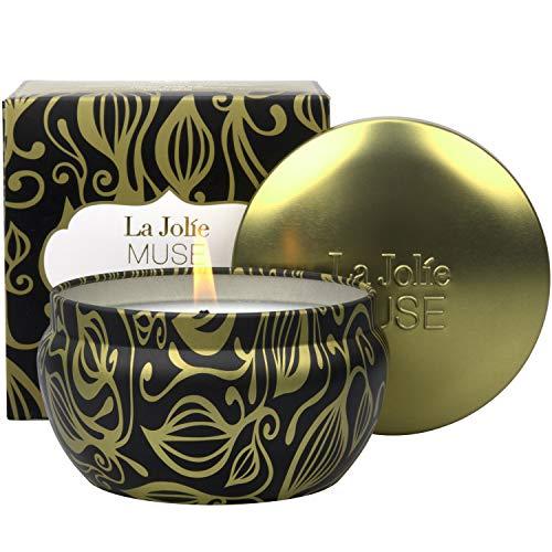 La Jolíe Muse Vela perfumada de Vainilla y Tabaco, Vela de Soja 100% Natural para el hogar, 45 Horas de duración, Vela de hojalata para Hombre, 185g