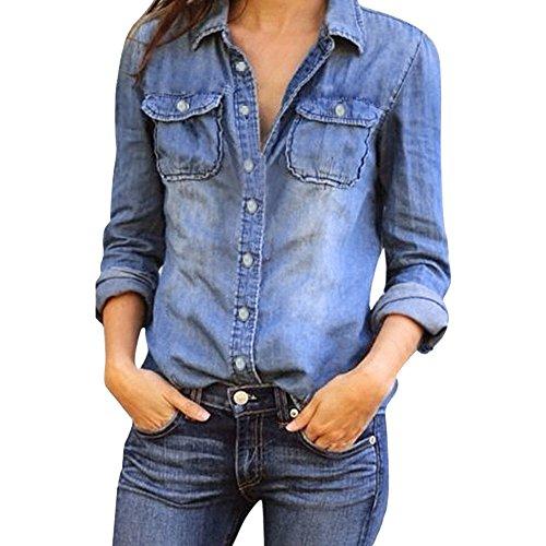 STRIR Moda para Mujer Casual Azul Jean Solapa Botón Camisa de Manga Larga Tops Blusa Chaqueta