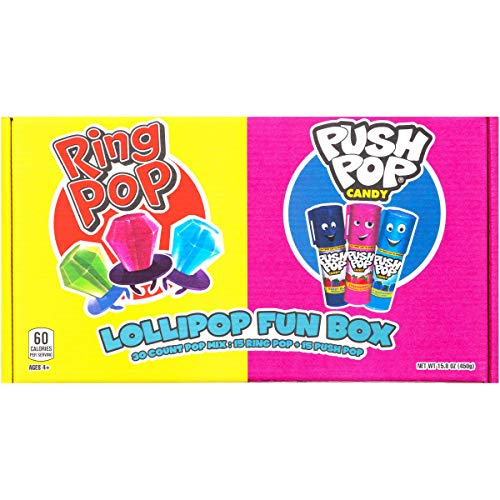 Ring Pop Push Pop 30 Count Candy Box - Assorted Fruity Lollipop Gift Box for Birthdays & Parties