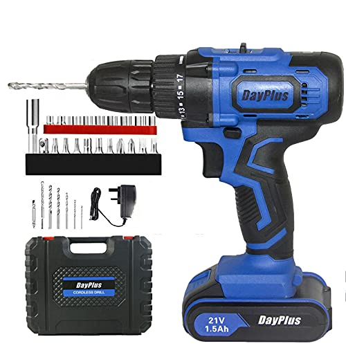 21V Cordless Drill Driver 45Nm, 1×1500mAh Li-Ion Batteries Combi Drill, Electric Screwdriver, Quick Charger, High/Low 2 Speed with LED Work Light, 29PC Accessory Kit + Carry Case