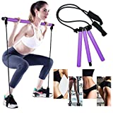 Gomi Portable Pilates Bar Kit with Resistance Band Yoga Pilates Stick, Exercise Toning Bar with Foot Loop, Sit-Up Bar for Yoga, Fitness, Stretch, Sculpt,Twist (Purple-3)