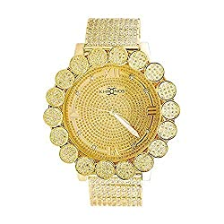Khronos Gold Tone ICY Lab Diamond Cluster Bezel Watch